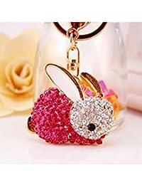 Banggood ELECTROPRIME Crystal Keyring Charm Pendant Bag Key Ring Chain Keychain Pink Rabbit