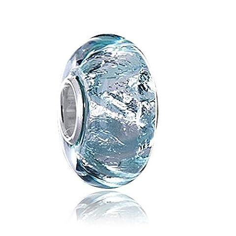 MATERIA Murano Glass Beads in Turquoise / Blue / Green / Glitter Foil Murano Glass 925 Silver With Foil Glitter