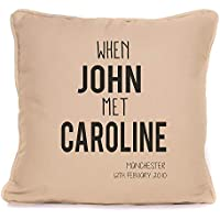Personalised His Her Gift For Valentines Day Or Wedding Anniversary | 'When We Met' Throw Pillow | 18x18 Inch Cushion Pillow with Pad | Gift For Couples Boyfriend Girlfriend
