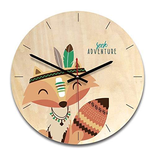 GCCLCF Kinderuhr Uhr Holztimer geeignet für Wohnzimmerschlaf-Durchmesser 28cm