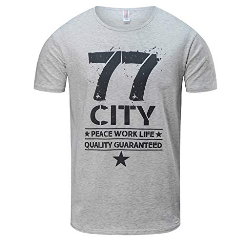 Btruely Herren T-Shirt Sommer Kurzarm Sport Tops Groß Größe Oberteil Rundhals Loose Fit Shirt Männer Basic Tee Bedruckt Tops