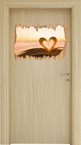 Das Herz aus einer Buchseite Kunst Buntstift Effekt Holzdurchbruch im 3D-Look , Wand- oder...