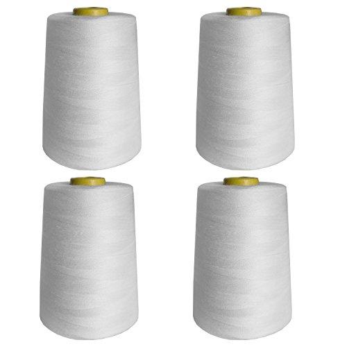 4-tlgs. 4572m Weißes Nähgarn Rollen Set von Curtzy - Große Polyester Garnrollen Perfekt für Hand und Nähmaschinen Nähen - Beste Faden Garn Spulen - Mehrzweck für Stickerei, Quilten und Mehr