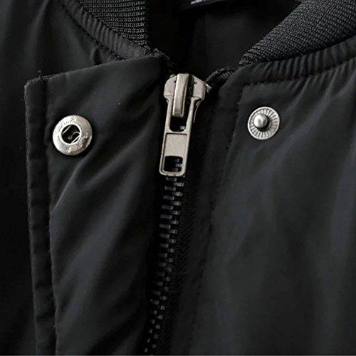 iPretty Herbst Jacke Damen Kurze Bomberjacke Spleiß Mantel Stehkragen Jacke College Jacke mit Reißverschluss Cardigan Outwear - 4