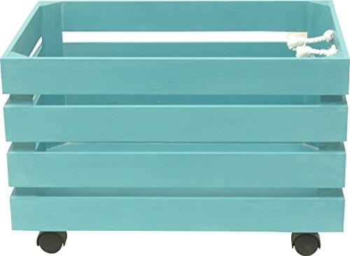 Sonpó Online - Modelo AFA24 - Juguetero organizador infantil con ruedas para almacenamiento de juguetes de AFAEPS - Hecho a mano de manera artesanal en madera - Color azul
