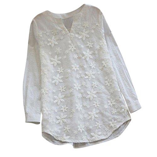 TIFIY Frauen Tunika Langarm Bluse Herbst Reine Farbe Floral Lace Stickerei  V-Ausschnitt Lose Baggy Tops Shirt(Weiß,Medium) 8e61af43b5