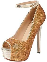 Coolulu Mujer Sandalias de Tacón Alto con Plataforma Punta Abierta Adornadas  de Lentejuelas Zapatos Brillantes para 744c2b3d339b
