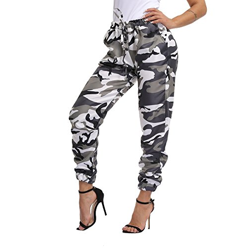 Xmiral Women Trouser Polyester Sports Camo Cargo Pants Outdoor Casual Loose Drawstring Camouflage Trousers