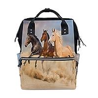 BKEOY Backpack Nappy Bag Animal Run Horse Diaper Bag Multifunction Travel Daypack for Mommy Mom Dad Unisex