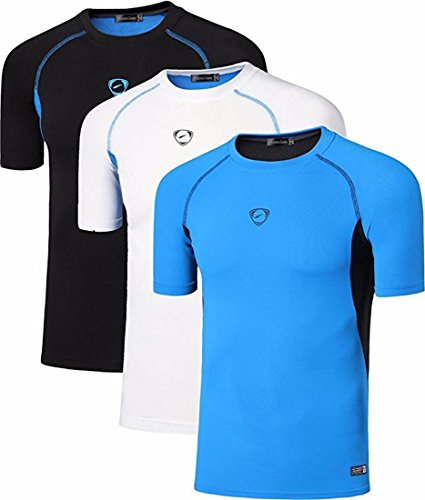 jeansian Herren Sportswear 3 Packs Sport Slim Quick Dry Short Sleeves Compression T-Shirt Tee LSL154 PackB L - Compression L/s Tee