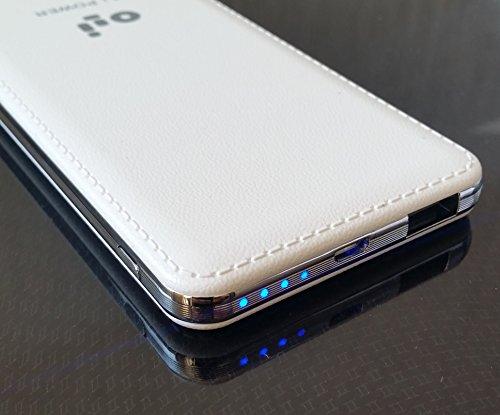 OLI® Flach Power Bank Externe Batterie Akku 7000mAh für iPhone iPad Samsung Galaxy Weiß