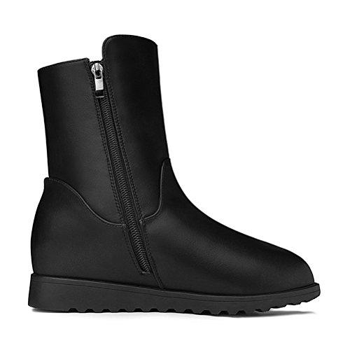 Damen Winter Einfache Warme Oberflach mit Künstlicher Kurze-Plüsch Dicke Sohle Plattformaufzug Reißverschluss Stiefelein Schwarz