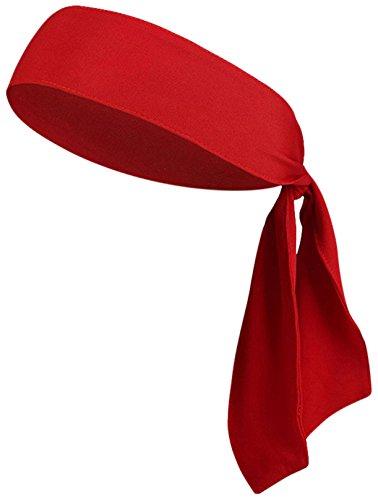 rawatte-Farbe Kopfband Schweißband Performance Elastic & Feuchtigkeitstransport für Running/Basketball/Tennis/(Yogo/Piraten/Leichtathletik/Arbeiten Out, 1 Pack Red ()