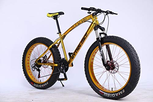 MYTNN Fatbike 26 Zoll 21 Gang Shimano Fat Tyre Mountainbike Gold 47 cm RH Snow Bike Fat Bike (Gold/Gold)