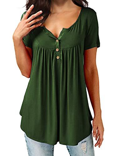 Eanklosco Damen Tops T-Shirts Swing Ruffle Blusen Tunika mit Knöpfen Casual Flowy Kurz/Lange Ärmel (Button-up-shirt L/s)