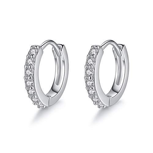 Creolen Damen Ohrringe Silber 925 Für Mädchen, 3A Zirkonia Einfacher Stil, 8 mm ZENI SILVER