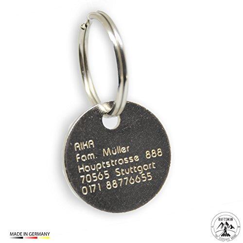 Raftsman Hundemarke mit persönlicher Gravur inkl. Schlüsselring - ID Tag - Adressanhänger