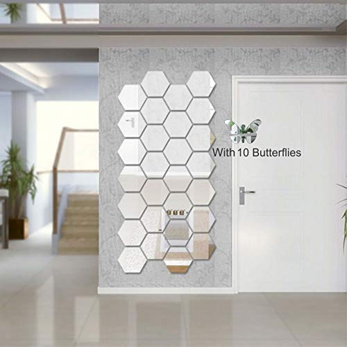 Wall1ders - Hexagon-Silver (Pack of 28) 3D Acrylic Mirror Wall Stickers for Living Room, Hall, Bed Room & Home