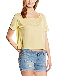 Vero Moda Vmlualissy Ss Wide Cropped Top Dnm A Wp, T-Shirt Femme