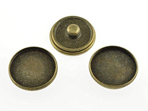 2 Rahmen als Druckknöpfe in antik bronzefarben für 18 mm Cabochons von Vintageparts, DIY-Schmuck (Druckknöpfe Aus Metall Antik-gold)