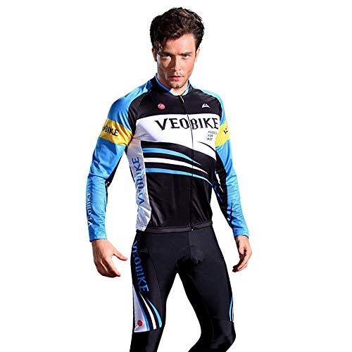 XiangYu Radtrikot Set, Herren Sommer Atmungsaktiv Schnelltrocknend Lange Ärmel Fahrradbekleidung+5D Gel Hosen R-S - Herren Rs Fahrrad Short