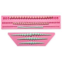 2 moldes de silicona para fondant con forma de collar de perlas para decoración con azúcar de tartas de boda