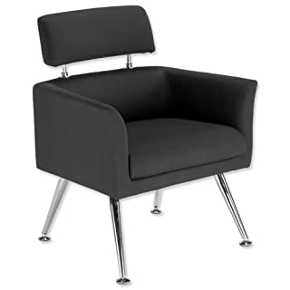 Adroit Avant Reception Armchair Upholstered Chrome Legs Back H420mm W1200xD600xH450mm Black