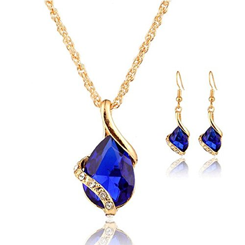 Rcool Women Girl Crystal Pendant Chain Necklace Choker Drop Earrings Jewelry Set 2frsSjkHfV