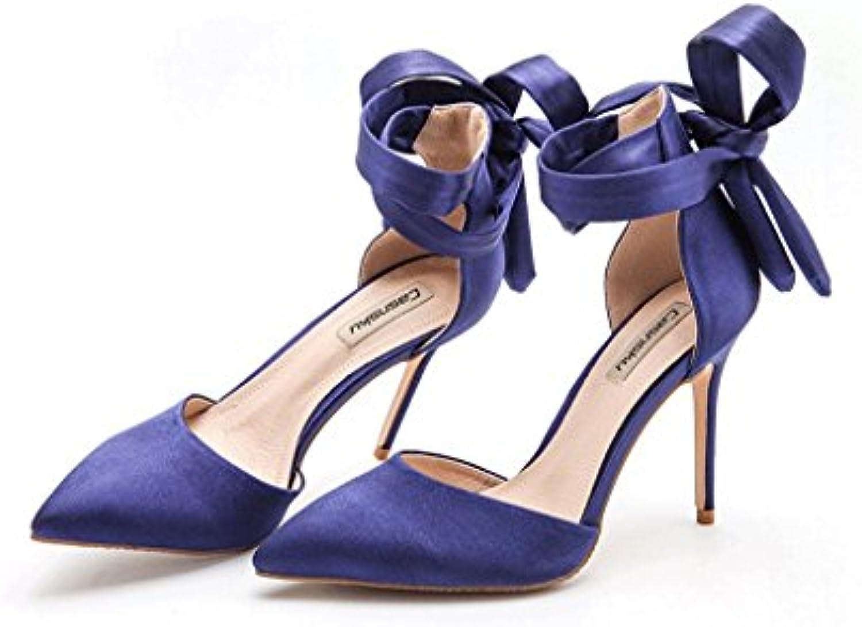 Attrape-rêve Satin Satin Attrape-rêve Banded Chaussures à Talons Hauts Chaussures Bleues Creuses Talons à Talons Chaussures Sexy...B07488WCQWParent 9a3f7c