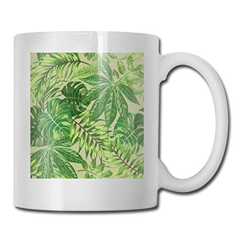 Jolly2T Funny Ceramic Novelty Coffee Mug 11oz,Exotic Pattern with Tropical Leaves Fresh Jungle Aloha Hawaii,Unisex Who Tea Mugs Coffee Cups,Suitable for Office and Home