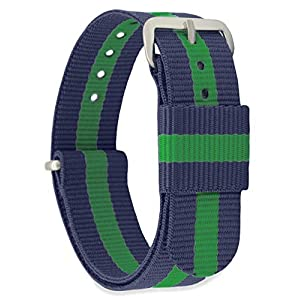 MOMENTO Women Men Nato Nylon Fabric Watch Strap Replacement with Stainless Steel Buckle in Silver with 20mm Watch Band in Blue Green