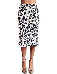 f2632d1562 Faldas Mujer La Rodilla Vintage Fashion Cóctel Falda Leopardo Party  Elegantes Cintura Alta Slim Fit Ropa