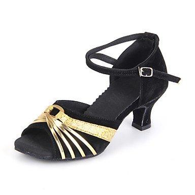 @ Tranquila Senhora Sapatos De Dança Latina Camurça Alta Prata Calcanhar / Prata