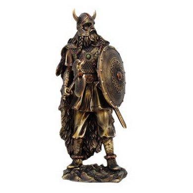 13,5(Guerrero Vikingo Con Escudo y Club resina Estatua Figura decorativa