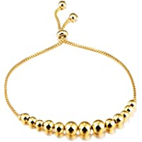 Fate Love 18ct Yellow Gold Lucky Ball Bead Adjustable Slider Bracelet for Women Yznnig5n