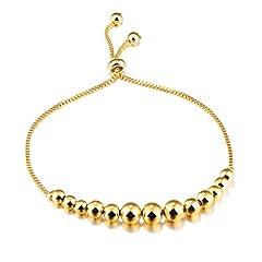Idea Regalo - Fate Love - Bracciale con perline portafortuna, regolabile, in oro giallo 18 ct, da donna