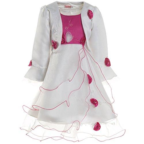 Mädchen Kommunions Kleid Festkleid Kostüm Bolero und Rose 21476, Farbe:Pink, Größe:92