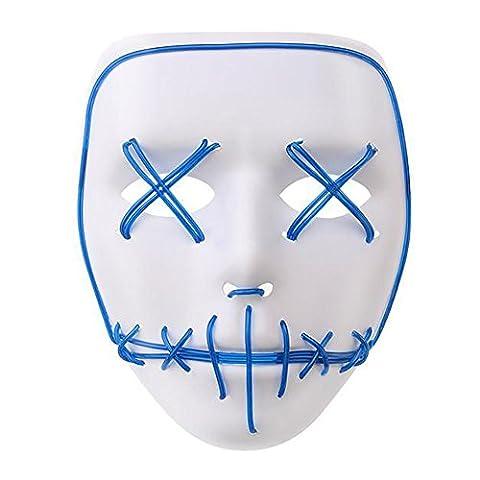 LED Light EL Wire Cosplay Maske für Halloween Christmas Party Costume Mask Purge Horror Blau Mask (Purge-kostüme Für Halloween)