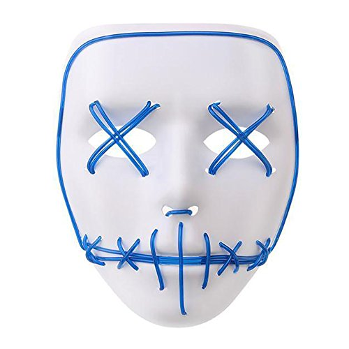 LED Light EL Wire Cosplay Maske für Halloween Christmas Party Costume Mask Purge Horror Blau (Kostüme Einfache Super Schnelle Halloween)