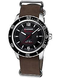 Wenger Unisex-Armbanduhr 01.0851.121 ROADSTER BLACK NIGHT Analog Quarz Leder 01.0851.121 ROADSTER BLACK NIGHT