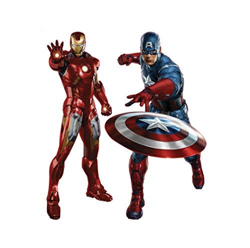 Oulique ® XXL 3D Aufkleber Avengers: Ironman und Captain America 50x70