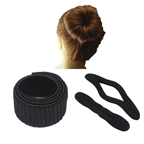 Demarkt 3x Knotenringe Donut Hair Bun Mode Frisur Damen Fashion Haarstyling Tool Haarknoten Knotenringe DIY Disk-Haar,Schwarz
