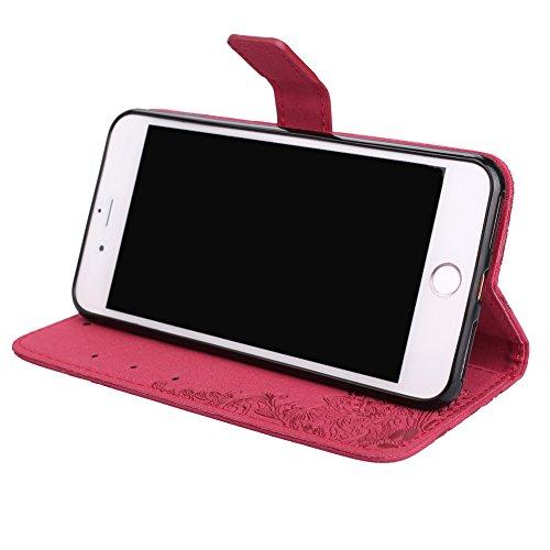 [5.5] BtDuck Cover per iPhone 7 Plus,Cover per iPhone 8 Plus,Glitter Luccichio Modello Ultra Slim Cover Portafoglio Stile Semplice Flip Magnetica Custodia Pelle per iPhone 7 Plus/6S Plus Morbido Sili 7 Plus/8 Plus 5.5-Rosso