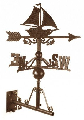 Traditional Cast Iron Garden Weathervane with Detailed Sail Boat/Ship Motif - Fixings and Bracket Included - Various Sizes and Finishes Available (Large,