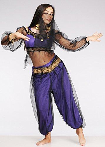 Petite Size lila Harem Mädchen arabischen Prinzessin (Gold Und Kostüme Bauchtänzerin Schwarz)
