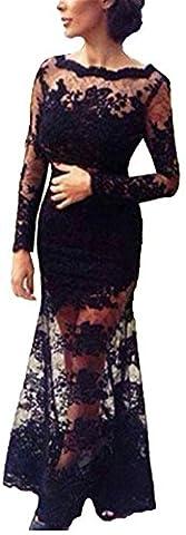 Blansdi Damen Mädchen Frauen Elegant Rundhals Lace Spitze Brautjungfer rückenfrei Lange Abendkleid festlich Kleider Abschlussballkleid Cocktailparty Ballkleid Prom Kleider Schwarz