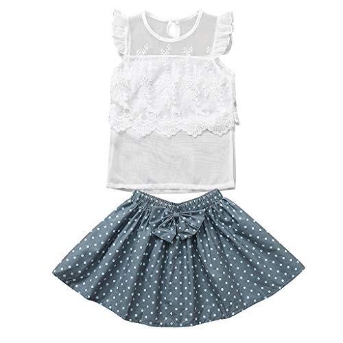 Neu 2 Stück Velour-outfit (Julhold Kleinkind Kinder Baby Mädchen Elegant Rüschen Spitze Schlank Tops Dot Bogen Röcke 2 STÜCK Outfit Sets 1-5 Jahre)
