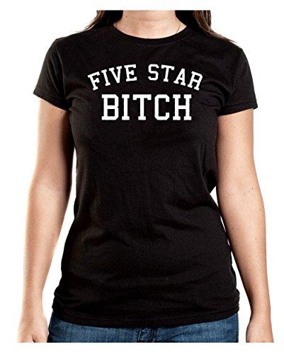 Five Star Bitch T-Shirt Girls Negro-XXL