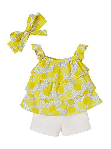 973368468ed0e VERTBAUDET Ensemble bébé fille 3 pièces blouse + short + bandeau JAUNE  IMPRIME 36M - 94CM