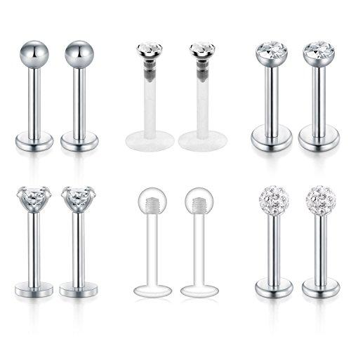 Funseedrr 6 Paar Edelstahl & Acryl Lippenpiercing Labret Stud Set 16G Monroe Ohr Tragus Helix Ohrring Stab 6mm (6 Design)